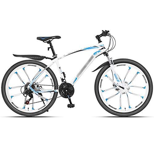 WPW Bicicleta de Montaña 24 Velocidades 26 Pulgadas 3 Ruedas de Radios Bicicleta de Doble Suspensión, 10 Ruedas de Corte (Color : 24-Speed White, Talla : 26inches)