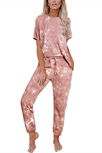 Viottiset Women's 2 Piece Tie Dye Sweatsuit Lounge Drawstring Sweatpants Set Short Sleeve Orange Medium