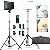 2 Packs LED Video Photography Lighting Kit, Panel Studio Lights with Stand, VL-200T Bi-Color...