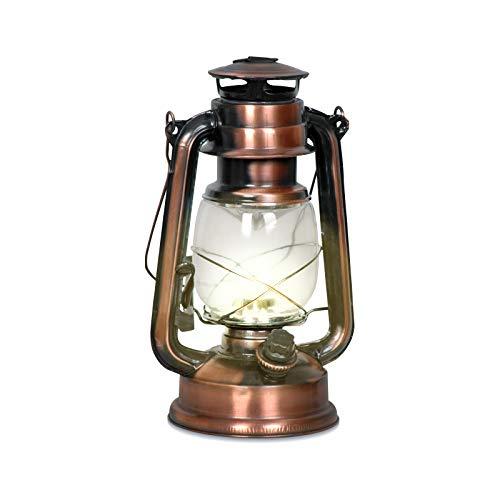 Eaxus® 15 led-lantaarn in vintage/retro olielampen-design. Koperen brons decoratieve lantaarn