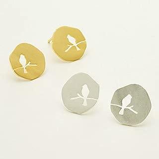 Dainty Bird Earrings for Women Bird on Branch Studs Minimalist Nature Jewelry - Multiple Colors