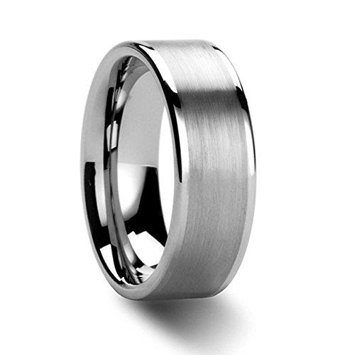 NELSON KENT Herren Damen 8 mm Breite Flachsandoberfläche Wolfram-Stahl-Paar Ringe Größe52(16.6)