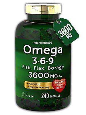 Triple Omega 3 6 9 | 240 Softgel Capsules | High Strength EPA & DHA | Fish Oil, Flax, Borage | Non-GMO, Gluten Free | by Horbaach