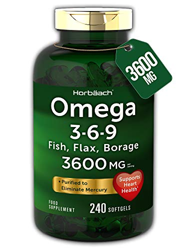 Triple Omega 3 6 9 | 240 Softgel Capsules | High Strength EPA & DHA | Fish Oil, Flax, Borage | Non-GMO, Gluten Free | by Horbaach