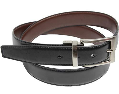 Cintura Uomo Pelle Reversibile, Cintura Double Face Nero/Marrone da 3.5cm, No Buchi per accorciare, Colore Nero/Marrone, Tutte le Taglie disponibili da 110 cm a 135 cm. (Nero/Marrone, 110 cm / 44-46)