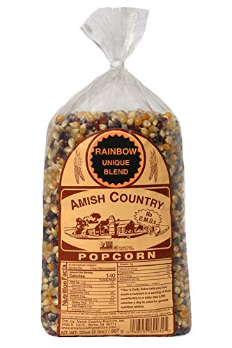 Amish Country Popcorn | 2 lb Bag | Rainbow Popcorn Kernels | Old Fashioned with Recipe Guide (Rainbow - 2 lb Bag)