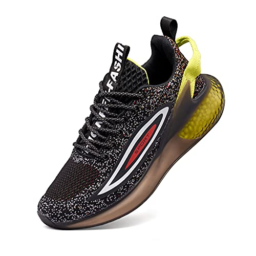 VcnKoso Scarpe da Corsa su Strada Ginnastica Scarpe Trail RunningScarpe Atletica Leggere Fitness Sneakers Antiscivolo OutdoorIndoor Sportive Scarpe Uomo Donna Nero 43