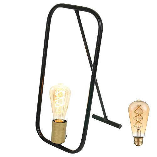 Designer tafellamp zwart goud E27 Summit 2422ZW incl. LED 5W Retro filament lamp dimbaar