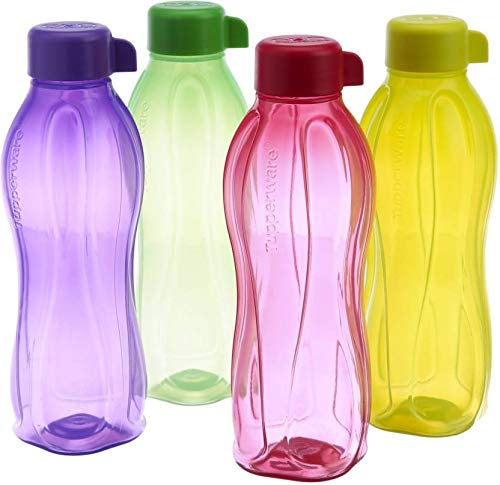 NK GLOBAL Tupperware - Juego de 4 botellas de agua ecológicas (1000 ml, con tapa de rosca)