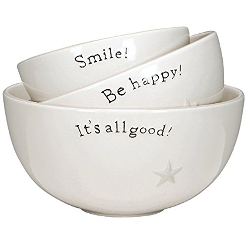 "Primitives By Kathy Large Stoneware Three Bowl Set - ""Smile. Be Happy. It's All Good"""