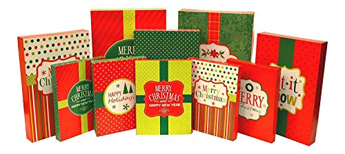 Christmas Holiday Multi Color Festive Gift Wrapping Shirt, Robe, Lingerie Boxes Set, Red, Green, Beige, 10 Count