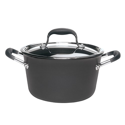 Anolon Advanced Hard Anodized Nonstick Sauce Pan/Saucepan with Lid, 4.5 Quart, Gray