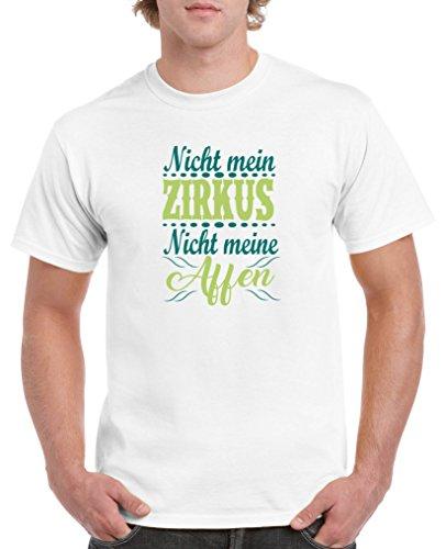 Comedy Shirts - Nicht mein Zirkus, Nicht Meine Affen - Herren T-Shirt - Weiss/Türkis-Hellgrün Gr. S