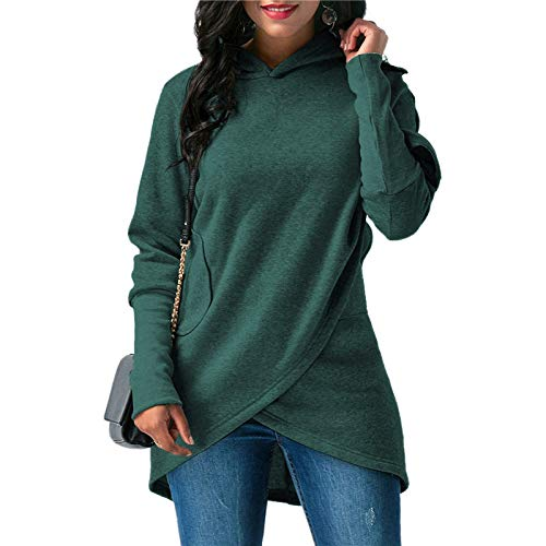 HOSD Women's Hooded Irregular Long-Sleeved Sweater Women Dark Green