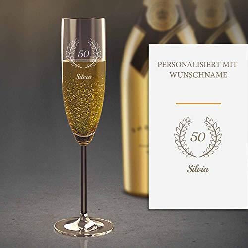 Sektglas Personalisiert mit Gravur (50. Geburtstag) | Edles Sekt-Glas mit Namen | Personalisierte individuelle Geschenkidee | Geeignet für Champagner & Sekt