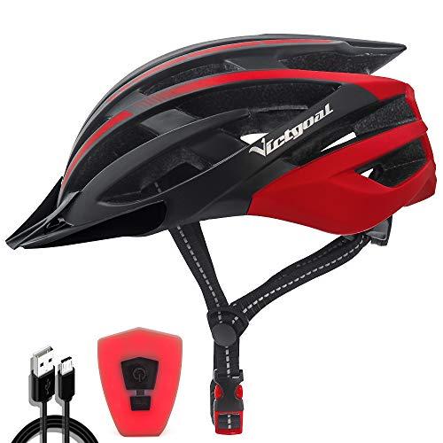 VICTGOAL Fahrradhelm mit Sicherheit LED Rear Light Mountain Bike Helm für Herren Damen Fahrradhelm mit Abnehmbares Visier Road Cycling Helm (Schwarz Rot)