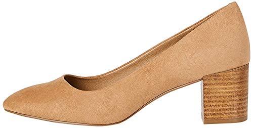 FIND Block Heel Round Toe Zapatos de Tacón, Marrón (Camel), 38 EU