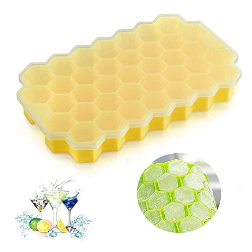 2 Packs Food Grade Silicone Ice MAKER Trays – BPA Free and No Smells Honeycomb Shape Ice Cream Easy-Release Reusable Mold 37 Cavities with FDA (2 Pack, Yellow with Lids)