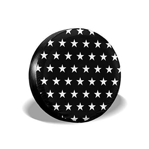 Hokdny Cubierta de Repuesto para neumático de Rueda con patrón de Estrella en Blanco y Negro (14 a 17 Pulgadas)