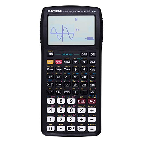 Scientific Graphic Calculator, Scientific and Engineering Calculator, Programmable System, High School or College, CS-229, Catiga (Black Upgraded)