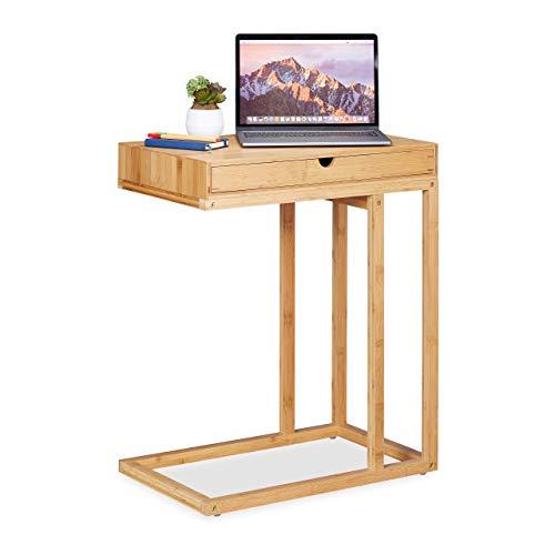 Relaxdays Beistelltisch Bambus mit großem Schubfach, moderner Stil, Wohnzimmertisch, H x B x T: 68 x 55 x 35 cm, Natur