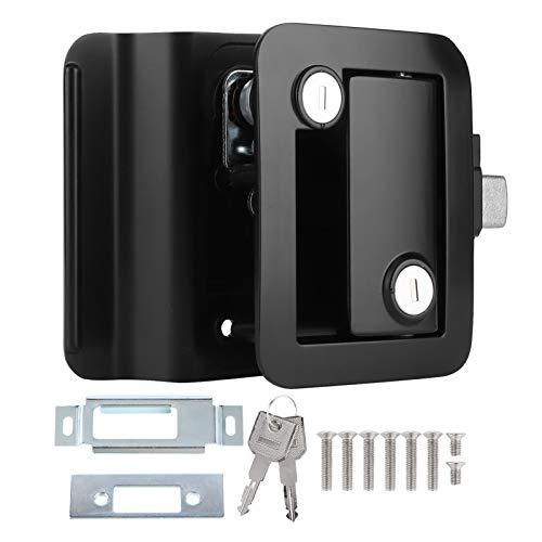 aqxreight - Serratura per porta d'ingresso per rimorchio da viaggio per camper con catenaccio a paletta, maniglia nera per serratura per porta camper con chiavi