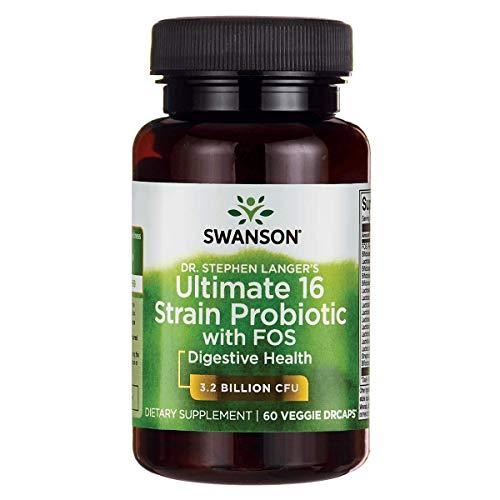 Swanson Probiotic with Prebiotic FOS Dr. Stephen Langer's Formula Digestive Support 16-Strain Supplement 3.2 Billion CFU 60 Capsules
