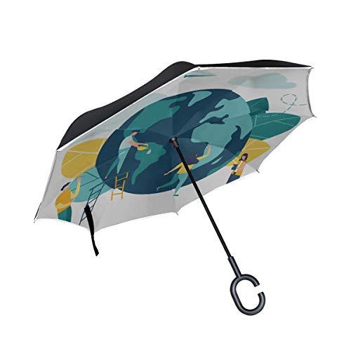 Parapluie inversé Double Couche Compact Day of The Earth Concept Parapluie Pliant pour Enfants Chaises Pliantes Parapluie Protection UV Coupe-Vent pour la Pluie avec poignée en Forme de C