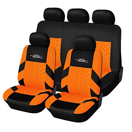 AUTOYOUTH Car Seat Covers Universal Fit Full Set Car Seat Protectors Tire Tracks Car Seat Accessories - 9PCS, Black/Red (Orange)