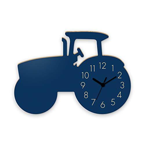 Wanduhr Traktor-Blau, Kinderuhr, Uhr für Kinderzimmer
