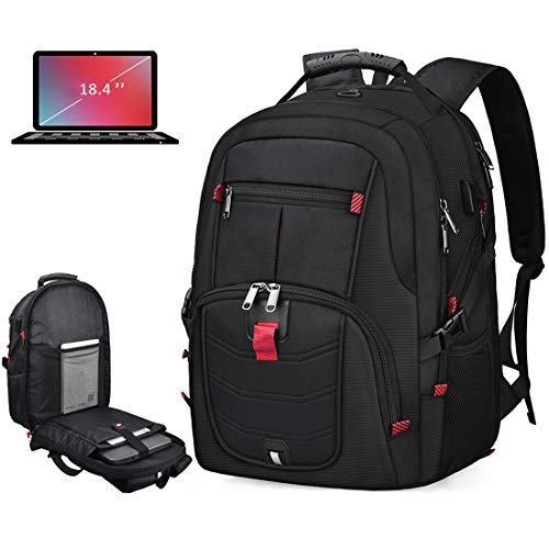 Laptop Backpack 18.4 Inch Waterproof Extra Large TSA Travel Backpack Anti Theft College School Business Mens Backpacks with USB Charging Port 17.3 Gaming Computer Backpack for Women Men Black