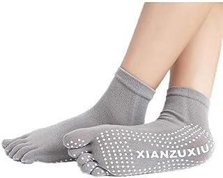 Mujeres Antideslizantes Calcetines de Cinco Dedos Yoga Gimnasia Deporte Ejercicio Masaje Fitness Calcetines Calientes Gris