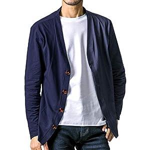 FTELA(フテラ) メンズ カーディガン ジャケット セーター 羽織 シンプル 無地 長袖 ボタン 春夏秋冬 L ネイビー