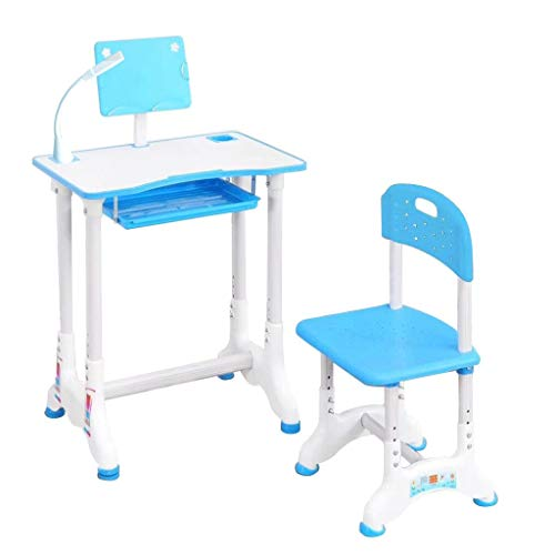 Pstarts Kids Desk and Chair Set, Height Adjustable School Children Study Table with LED Lamp, Bookstand, Non-Reflective Tabletop, Drawer Storage, for 3-15 Years Old Students