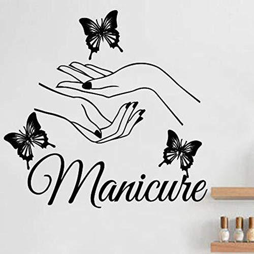 Manicura mariposa pared calcomanía belleza cuidado de uñas peluquería pared pegatina vinilo pared pegatina moda salón de uñas decoración