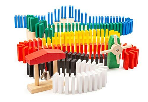 small foot 11402 Domino-Rallye, Kettenreaktions-Spiel aus Holz, 490-tlg, Geschicklichkeitsspiel für Kinder ab 3 Jahren Spielzeug, Mehrfarbig