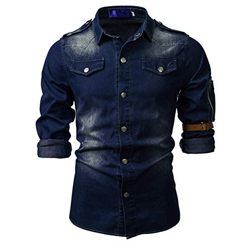 Jeanshemd Herren Langarm Western Denim Shirt Regular Fit Freizeithemden Basic Hemd für Männer Dunkelblau XXL