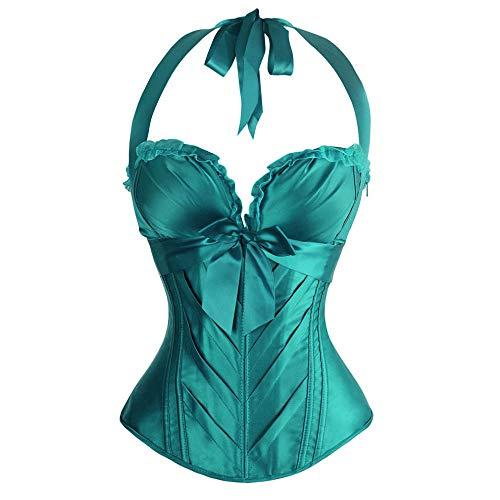 Stap één Ondergoed Zwart Elegant Halter Bloemenprint Satijnen Korset Lace Up Bustier Bodyshaper Lingerie Feestkleding Grote maten Bovenborst Top-Green_S