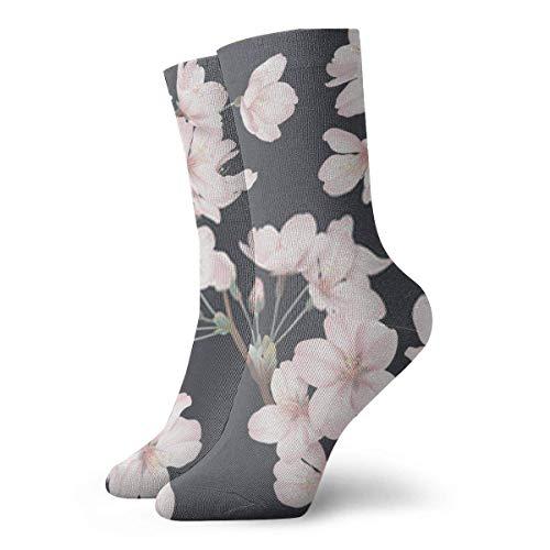 Almost-Okay-Shop Socken Blumenmuster Somei Yoshino Sakura Blumen mit Zweig und Blätter auf DarkCrew Socken | Süße Fun Socken für Männer
