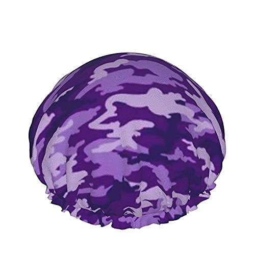 Gorro De Ducha De Color Púrpura Camuflaje Reutilizables Baño Sombrero De Pelo, Elástica Reutilizables De Baño Sombreros Para Mujer Impermeable & Ajustable