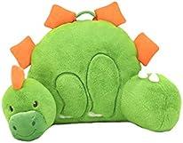 "Soft Landing | Nesting Nooks | Premium Character Backrest with Carrying Handle & Back Pocket – Plush Dinosaur Backrest Green/Orange 14"" x 26"" x 16"""