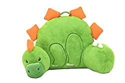 "Sweet Seats 55126 Adorable Dinosaur Reading Cushion, Lightweight and Portable Dinosaur Bed Rest Pillow, Perfect for Ages 2 and, 14"" x 26"" x 16"", Green/Orange"