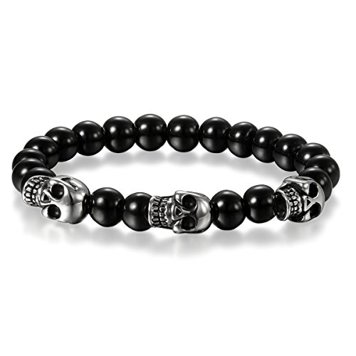 Cupimatch Herren Damen Buddha Mala Totenkopf Armband, Schädel Kugelkette Gebet Stretch Energiearmband Armschmuck Perlenarmband, schwarz Silber