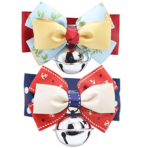 ZOYLINK Collares para Mascotas Lazo Ajustable 2pcs Collares para Cachorros Impresos Ligeros De Metal Decorativo Hechos a Mano Collares para Gatos con Campanas