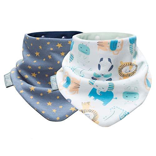 Cheeky Chompers Bavaglino stampato per neonati e bambini – Confezione doppia – Bavaglino triangolare – Divertente foulard igienico + assorbente (stelle di mezzanotte & Cheeky Animals)