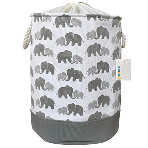 MissZZ Laundry Basket Foldable Grey Elephant Storage Basket Clothes Hamper Large Thickened Canvas Fabric Storage Bin for Baby Kids Nursery
