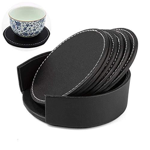 Tischset Tasse Matte hitzebeständige Untersetzer wasserdicht Kaffee Tee Trinken Tasse Tischset, Set von 6 Stück mit einem Basis-Box for die Lagerung PU Leder runde Form (Farbe: schwarz)