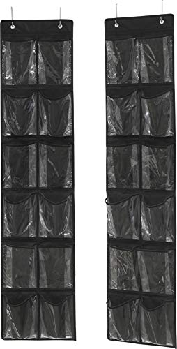 Simple Houseware 24 Pockets - 2PK 12 Large Pockets Over Door Hanging Shoe Organizer, Black (58'' x 12.5'')