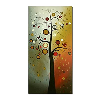 Wieco Art - Tree of Life 100% Hand-Painted Oil Paintings, Stretched and Framed Modern Canvas Wall Art Wall Decor Abstract Oil Paintings on Canvas for Home Decor
