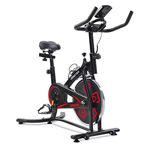 Merax Heimtrainer Fitness Bike,Spin Bike Studio-Fahrräder Trainingsgeräte Einstellbare Lenker & Sitz an Bord Computer liest Geschwindigkeit, Entfernung, Zeit, Kalorien + Puls,Schwarz Rot
